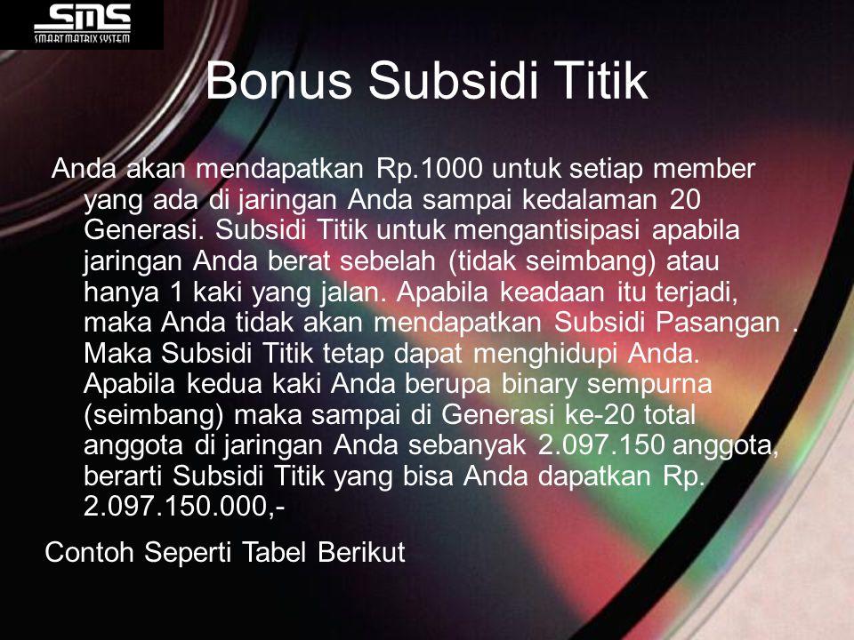 Bonus Subsidi Titik Anda akan mendapatkan Rp.1000 untuk setiap member yang ada di jaringan Anda sampai kedalaman 20 Generasi. Subsidi Titik untuk meng