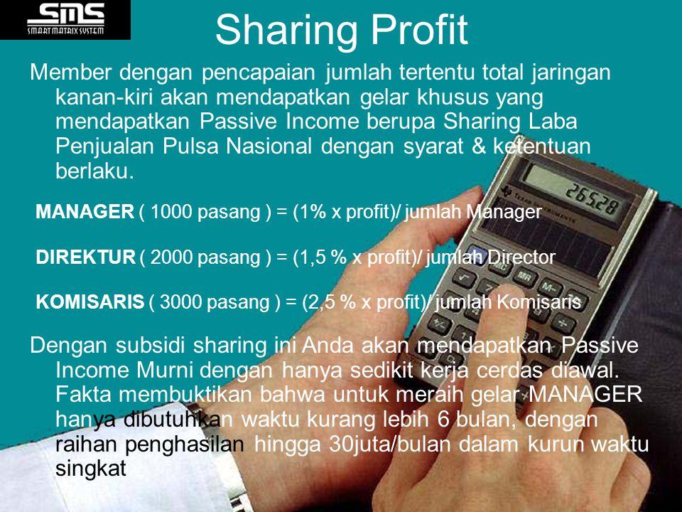 Member dengan pencapaian jumlah tertentu total jaringan kanan-kiri akan mendapatkan gelar khusus yang mendapatkan Passive Income berupa Sharing Laba P