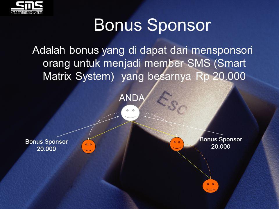 Bonus Sponsor Adalah bonus yang di dapat dari mensponsori orang untuk menjadi member SMS (Smart Matrix System) yang besarnya Rp 20.000 ANDA Bonus Spon