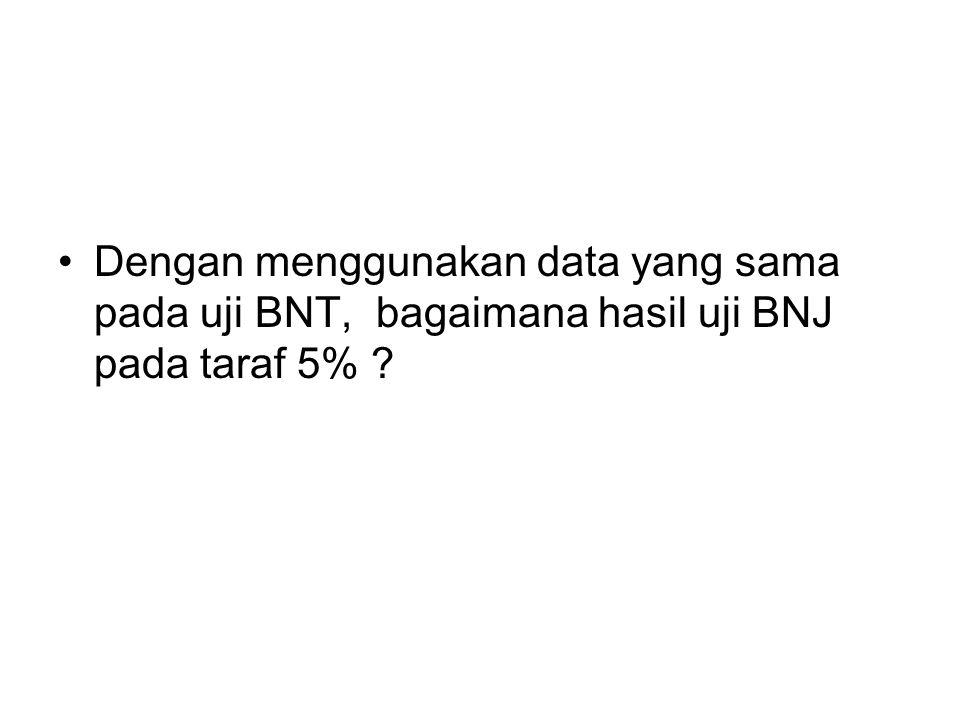 Dengan menggunakan data yang sama pada uji BNT, bagaimana hasil uji BNJ pada taraf 5% ?
