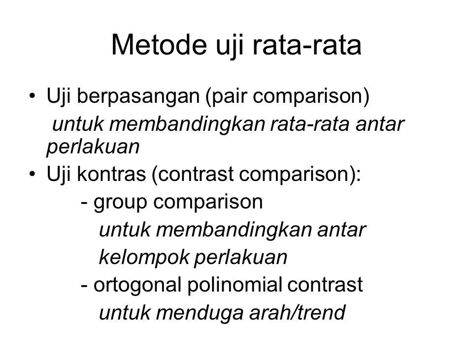 Metode uji rata-rata Uji berpasangan (pair comparison) untuk membandingkan rata-rata antar perlakuan Uji kontras (contrast comparison): - group compar