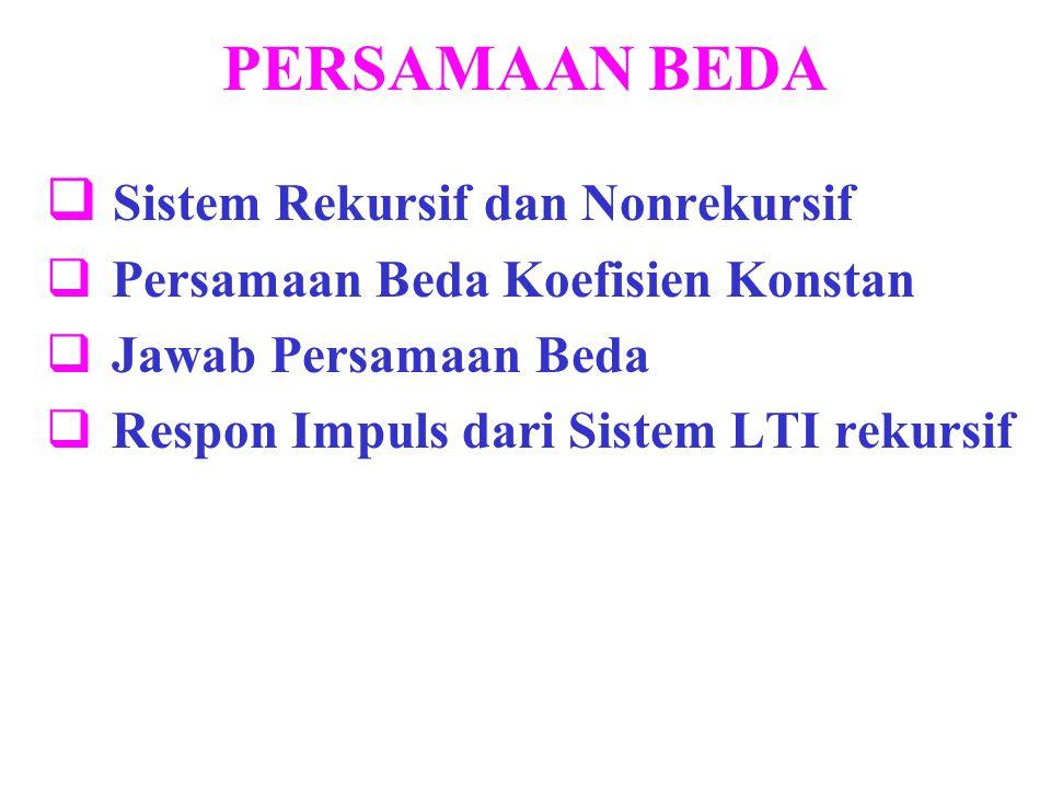 PERSAMAAN BEDA  Sistem Rekursif dan Nonrekursif  Persamaan Beda Koefisien Konstan  Jawab Persamaan Beda  Respon Impuls dari Sistem LTI rekursif