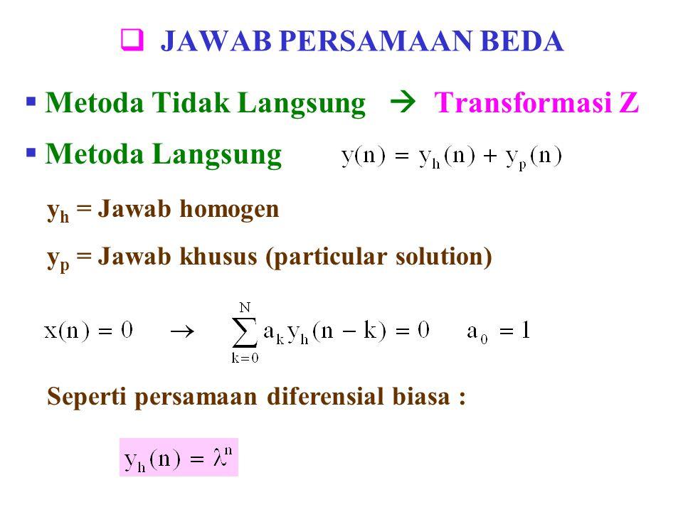  JAWAB PERSAMAAN BEDA  Metoda Tidak Langsung  Transformasi Z y h = Jawab homogen y p = Jawab khusus (particular solution)  Metoda Langsung Seperti