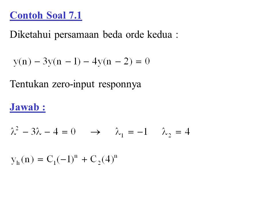 Contoh Soal 7.1 Diketahui persamaan beda orde kedua : Jawab : Tentukan zero-input responnya