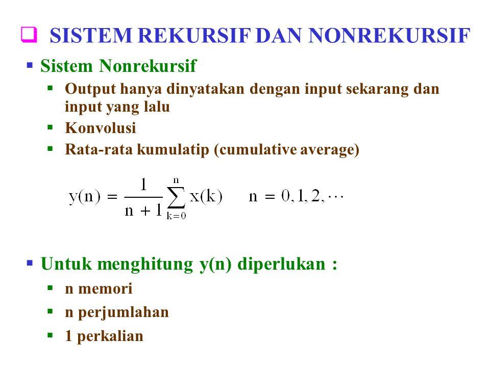  SISTEM REKURSIF DAN NONREKURSIF  Sistem Nonrekursif  Output hanya dinyatakan dengan input sekarang dan input yang lalu  Konvolusi  Rata-rata kum