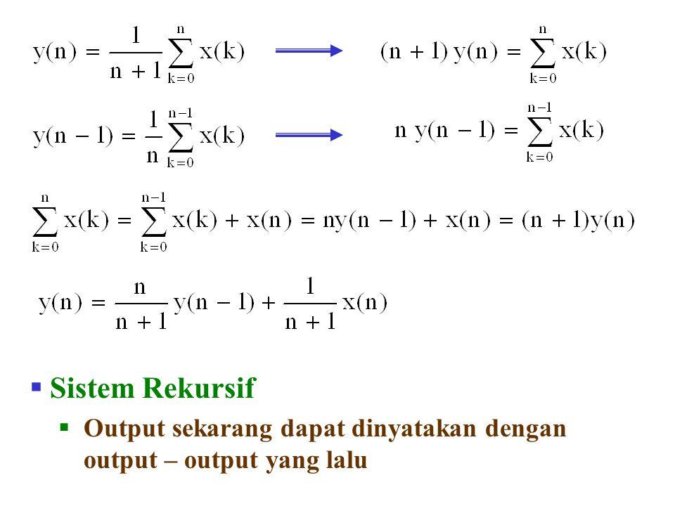  Sistem Rekursif  Output sekarang dapat dinyatakan dengan output – output yang lalu