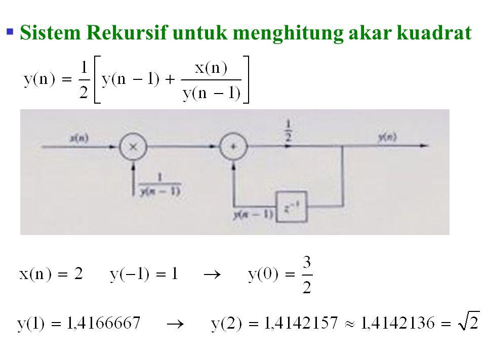  Sistem rekursif  Untuk menghitung y(n) harus terlebih dahulu menghitung y(0), y(1), …., y(n-1)  Sistem nonrekursif  Untuk menghitung y(n) tidak harus terlebih dahulu menghitung y(0), y(1), …., y(n-1)
