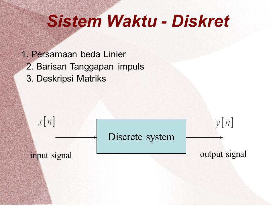 Sistem Waktu - Diskret 1. Persamaan beda Linier 2. Barisan Tanggapan impuls 3. Deskripsi Matriks Discrete system input signal output signal