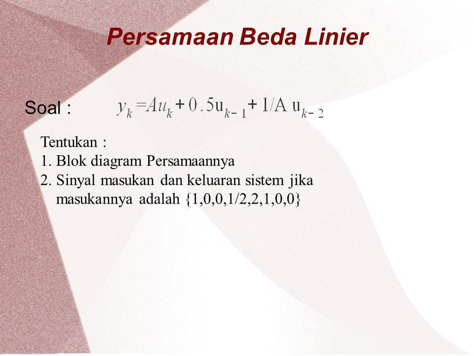 Persamaan Beda Linier Soal : Tentukan : 1. Blok diagram Persamaannya 2. Sinyal masukan dan keluaran sistem jika masukannya adalah {1,0,0,1/2,2,1,0,0}