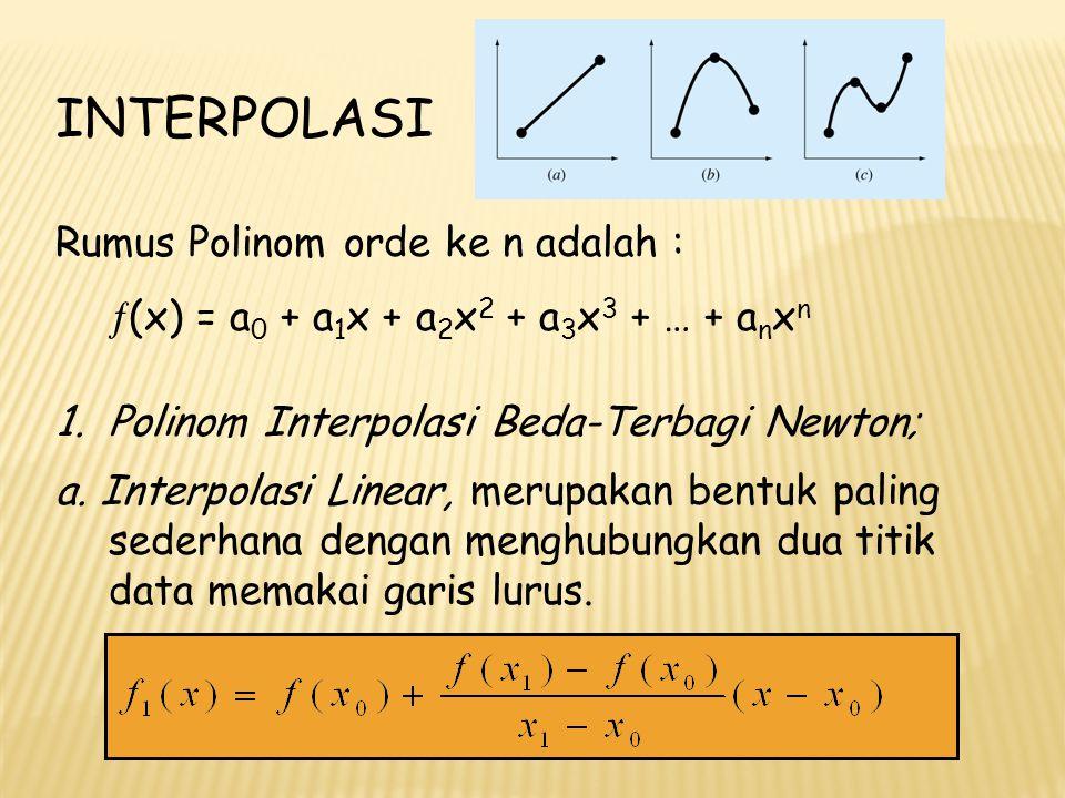 Contoh : Taksirlah logaritma natural dari 2 (ln 2) dengan memakai interpolasi linear antara ln 1 = 0 dan ln 6 = 1.7919595, selanjutnya ulangi untuk ln 1 dan ln 4 = 1.3862944 dimana nilai sejati ln 2 = 0.69314718.