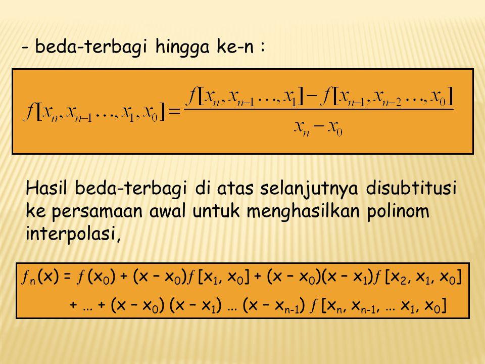 Secara grafis dapat dilukiskan sebagai berikut : iXiXi f (x i )pertamakeduaketiga 01230123 X0X1X2X3X0X1X2X3 f (x 0 ) f (x 1 ) f (x 2 ) f (x 3 ) f [x 1,x 0 ] f [x 2,x 1 ] f [x 3,x 2 ] f [x 2, x 1, x 0 ] f [x 3, x 2, x 1 ] f [x 3, x 2, x 1, x 0 ] Selesaikan ln 2 = 0.69314718 memakai polinom interpolasi beda terbagi Newton, dimana : x 0 = 1   (x 0 ) = 0 ; x 1 = 4   (x 1 ) = 1.3862944; x 2 = 4   (x 2 ) = 1.6094379; dan x 3 = 6   (x 3 ) = 1.7919595
