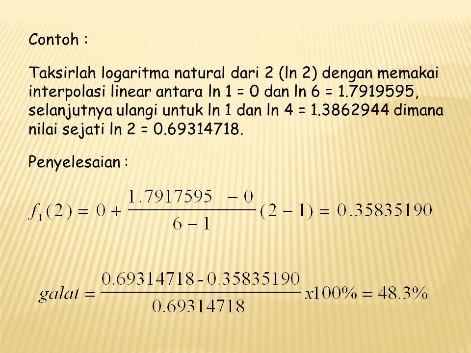 b.Interpolasi Kuadrat, dipergunakan untuk tiga titik data, dimana :   (x) = b 0 + b 1 (x – x 0 ) + b 2 (x – x 0 ) (x – x 1 ) = b 0 + b 1 x– b 1 x 0 + b 2 x 2 + b 2 x 0 x 1 -b 2 xx 0 - b 2 xx 1