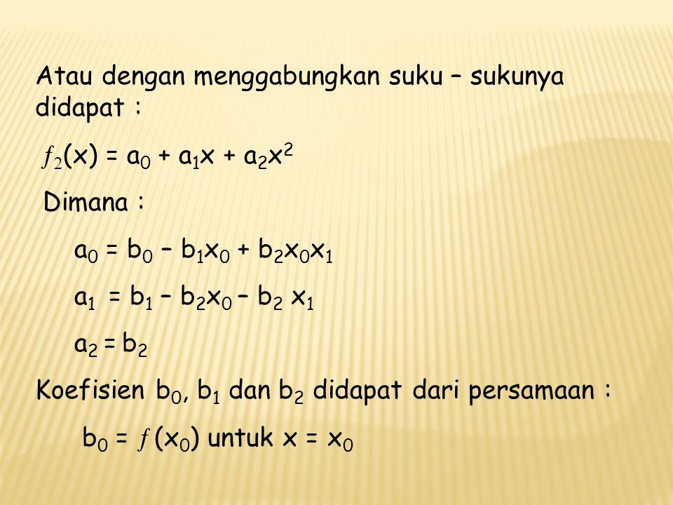 Selesaikan ln 2 memakai polinom orde kedua terhadap tiga titik : x 0 = 1   (x 0 ) = 0 ; x 1 = 4   (x 1 ) = 1.3862944 dan x 2 = 6   (x 2 ) = 1.7919595 dimana nilai sejati ln 2 = 0.69314718.