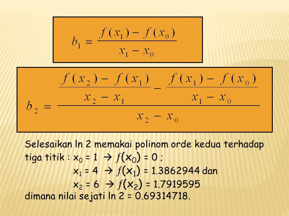 b 0 =   (x 0 ) untuk x = x 0 = 1, maka b 0 = 0