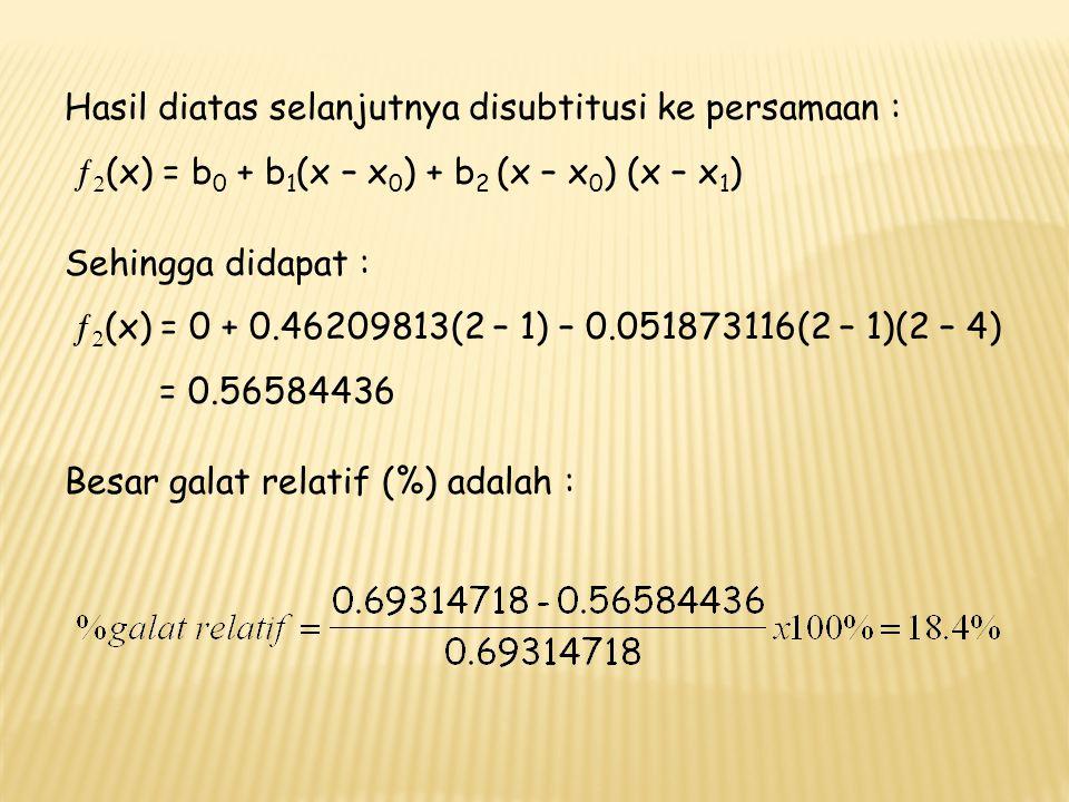 c.Bentuk Umum Polinom Interpolasi Newton, dipergunakan untuk mencocokkan polinom orde ke n sampai n + 1 titik data.