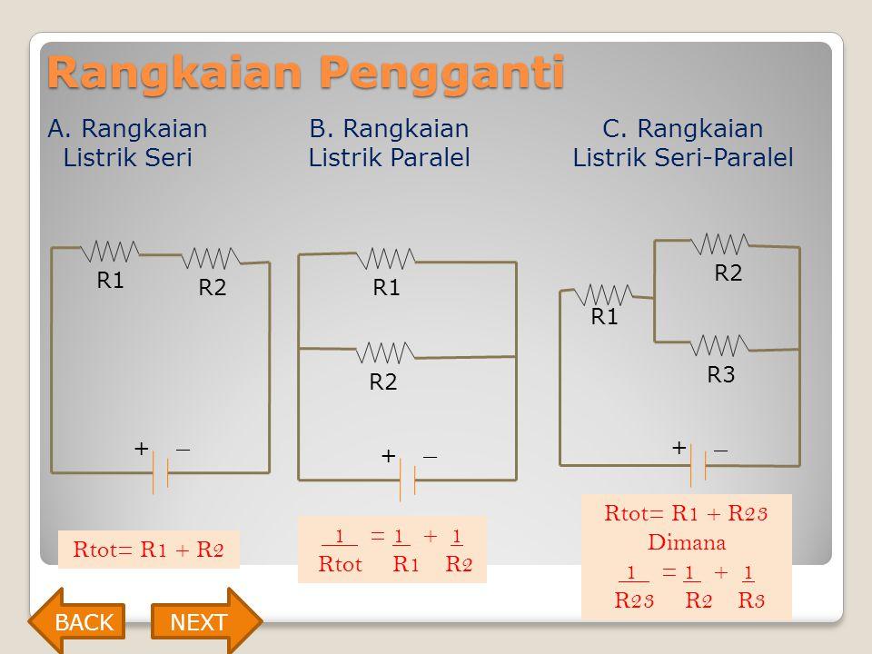 Rangkaian Pengganti A. Rangkaian Listrik Seri + _ B. Rangkaian Listrik Paralel + _ C. Rangkaian Listrik Seri-Paralel + _ Rtot= R1 + R2 1 = 1 + 1 Rtot