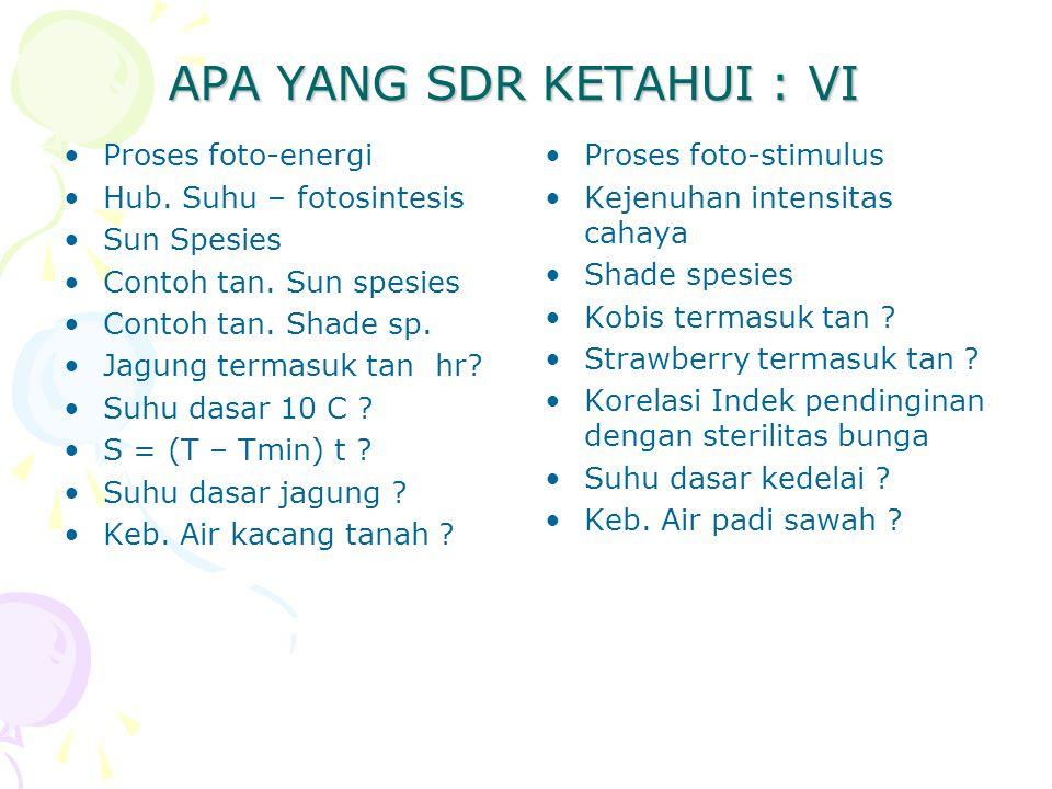 APA YANG SDR KETAHUI : VI Proses foto-energi Hub. Suhu – fotosintesis Sun Spesies Contoh tan.