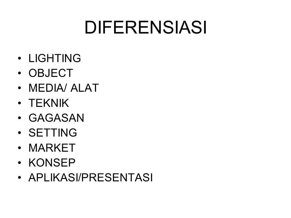 DIFERENSIASI LIGHTING OBJECT MEDIA/ ALAT TEKNIK GAGASAN SETTING MARKET KONSEP APLIKASI/PRESENTASI