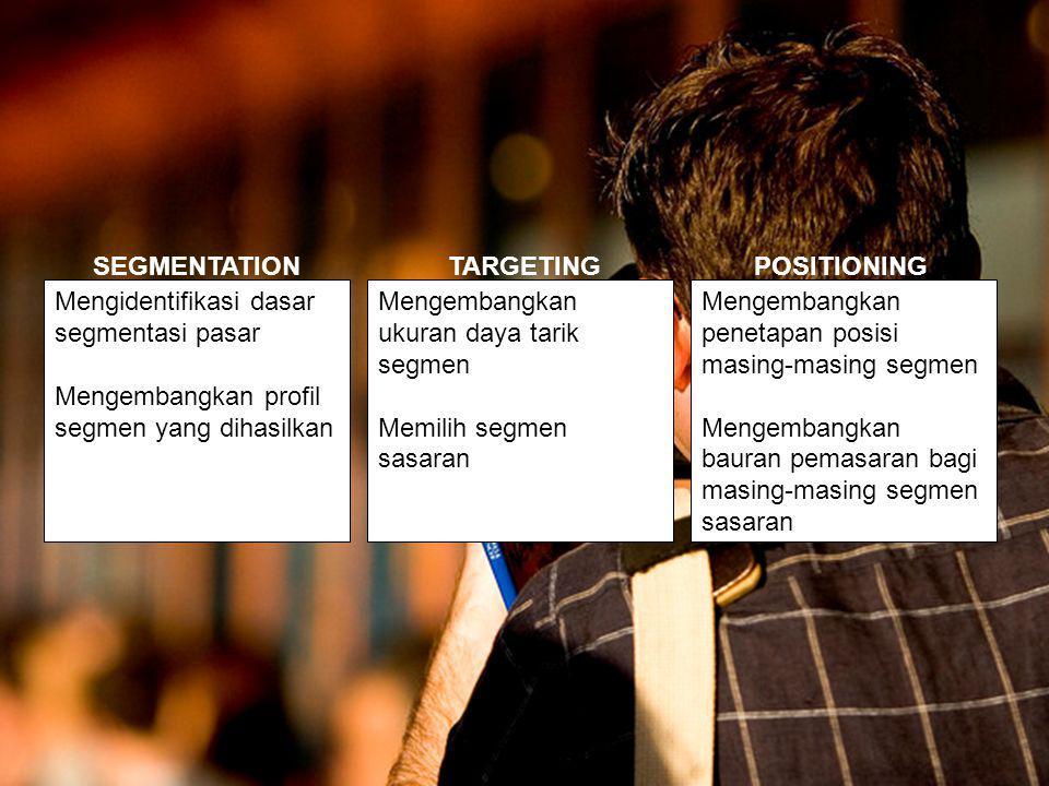 Mengidentifikasi dasar segmentasi pasar Mengembangkan profil segmen yang dihasilkan Mengembangkan ukuran daya tarik segmen Memilih segmen sasaran Mengembangkan penetapan posisi masing-masing segmen Mengembangkan bauran pemasaran bagi masing-masing segmen sasaran SEGMENTATIONTARGETINGPOSITIONING