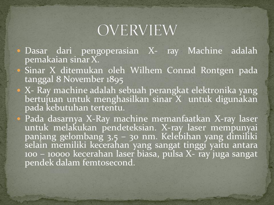 Dasar dari pengoperasian X- ray Machine adalah pemakaian sinar X.