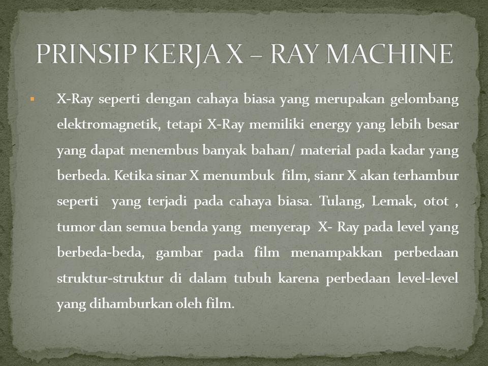  X-Ray seperti dengan cahaya biasa yang merupakan gelombang elektromagnetik, tetapi X-Ray memiliki energy yang lebih besar yang dapat menembus banyak bahan/ material pada kadar yang berbeda.