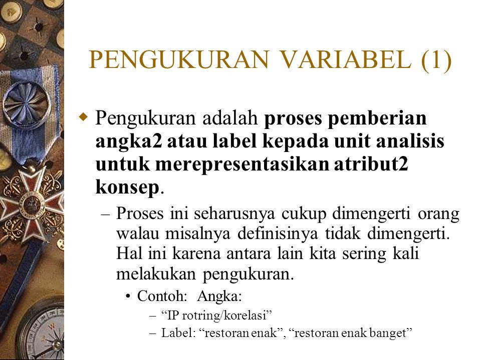 PENGUKURAN VARIABEL (1)  Pengukuran adalah proses pemberian angka2 atau label kepada unit analisis untuk merepresentasikan atribut2 konsep. – Proses