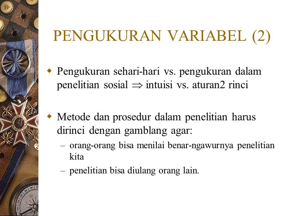 PENGUKURAN VARIABEL (2)  Pengukuran sehari-hari vs. pengukuran dalam penelitian sosial  intuisi vs. aturan2 rinci  Metode dan prosedur dalam peneli
