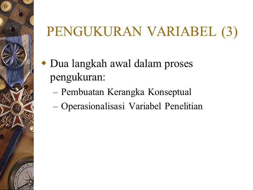 PENGUKURAN VARIABEL (3)  Dua langkah awal dalam proses pengukuran: – Pembuatan Kerangka Konseptual – Operasionalisasi Variabel Penelitian