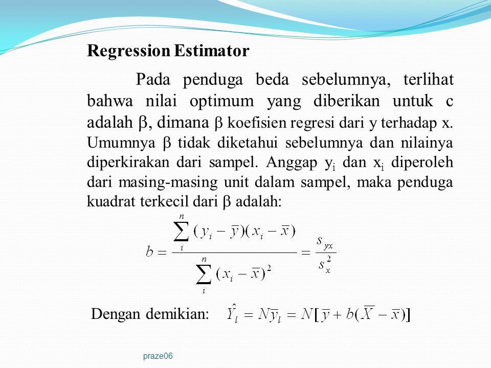praze06 Regression Estimator Pada penduga beda sebelumnya, terlihat bahwa nilai optimum yang diberikan untuk c adalah , dimana  koefisien regresi da