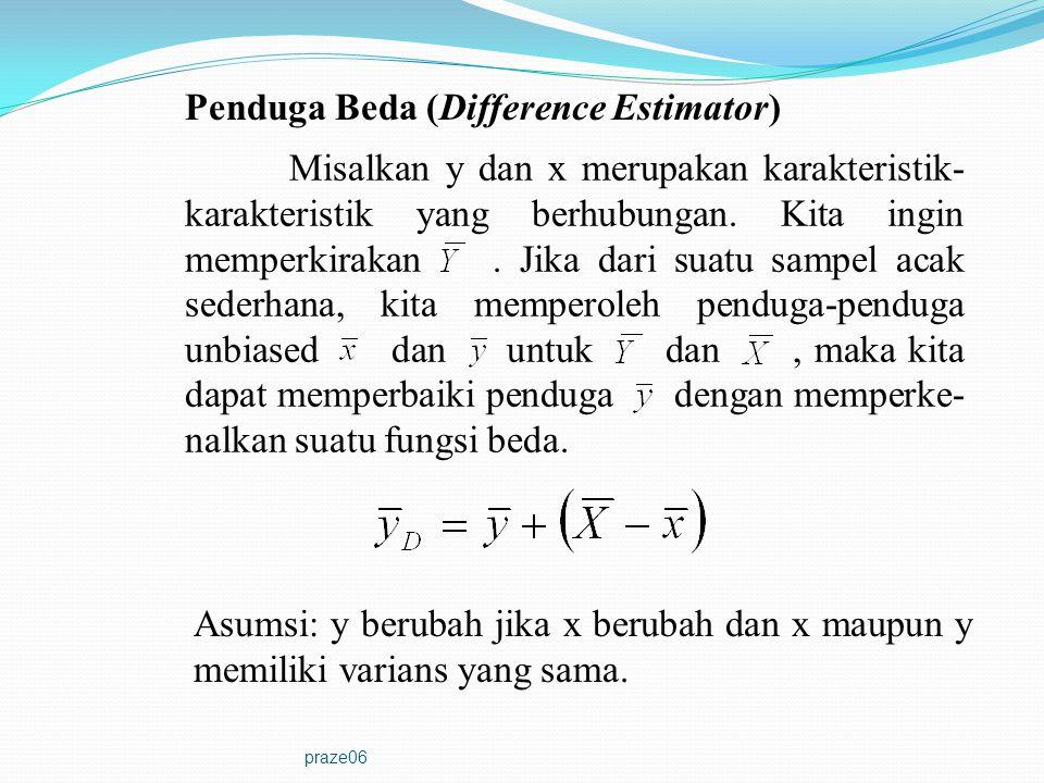 praze06 Penduga Beda (Difference Estimator) Misalkan y dan x merupakan karakteristik- karakteristik yang berhubungan. Kita ingin memperkirakan. Jika d