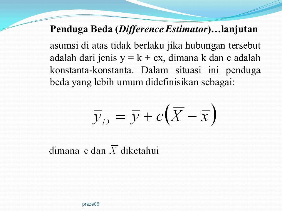 praze06 Teorema 6.1: Dalam SRS-WOR, penduga beda adalah unbiased dan varians samplingnya adalah dimana  adalah koefisien korelasi antara x dan y dan  = c S x /S y.