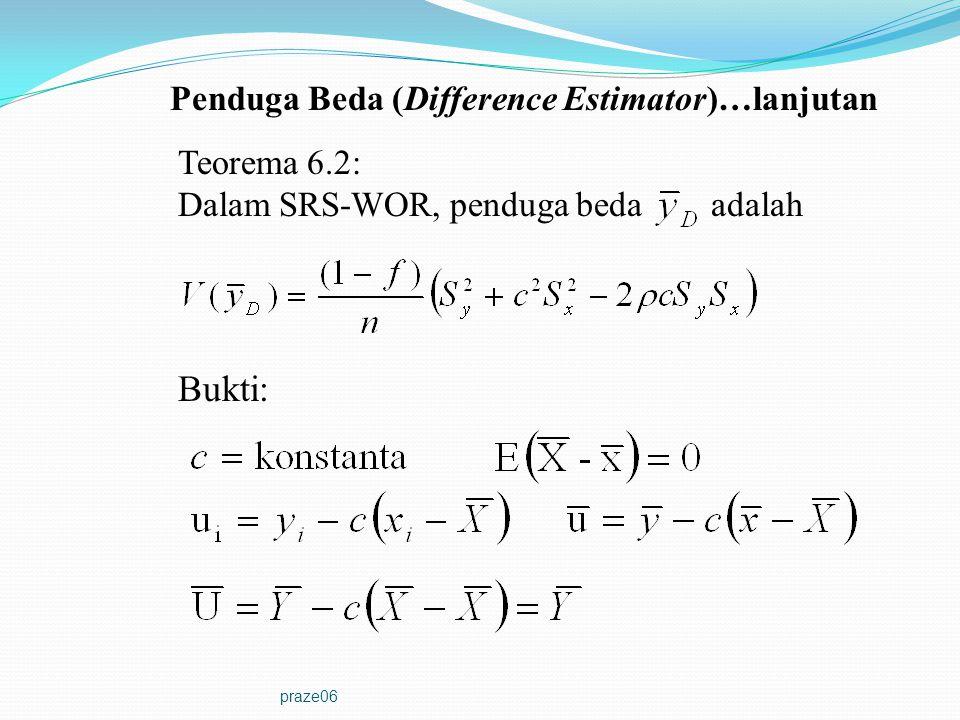 praze06 Teorema 6.2: Dalam SRS-WOR, penduga beda adalah Bukti: Penduga Beda (Difference Estimator)…lanjutan