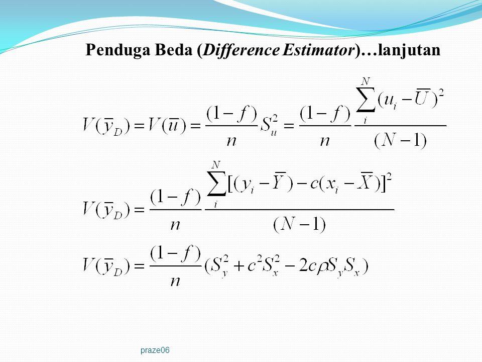 praze06 Corollary: Untuk kasus c=R(=Y/X), varians dari penduga beda dengan penduga rasio aproksimasi order pertama akan tepat sama.
