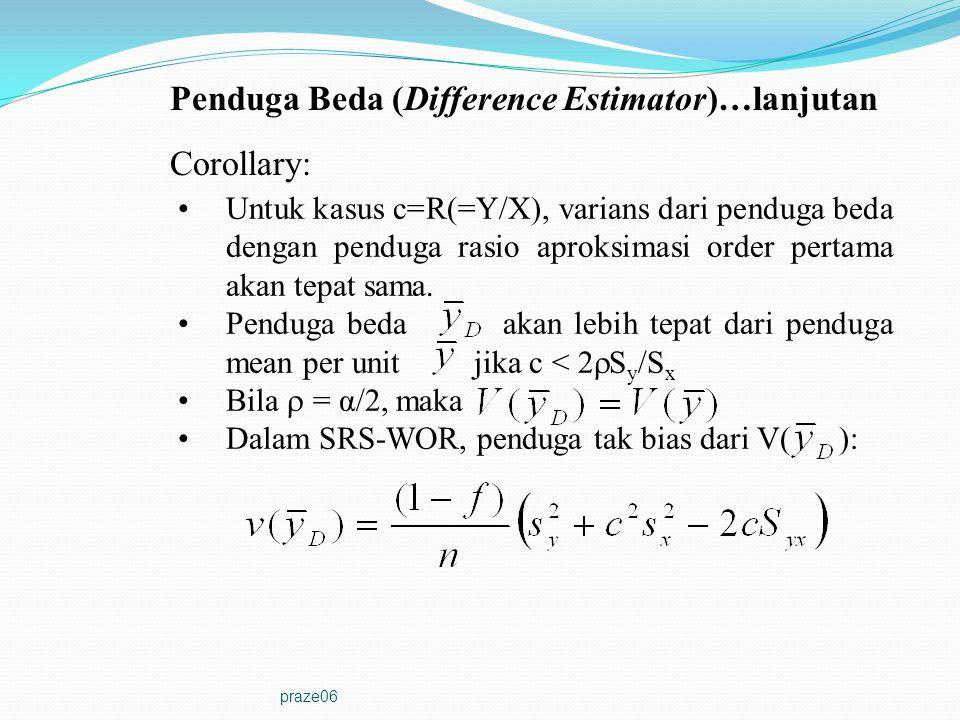 praze06 Corollary: Untuk kasus c=R(=Y/X), varians dari penduga beda dengan penduga rasio aproksimasi order pertama akan tepat sama. Penduga beda akan