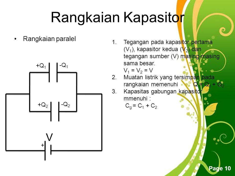 Free Powerpoint Templates Page 10 Rangkaian Kapasitor Rangkaian paralel + V +Q 1 -Q 1 +Q 2 -Q 2 1.Tegangan pada kapasitor pertama (V 1 ), kapasitor kedua (V 2 ) dan tegangan sumber (V) masing-masing sama besar.