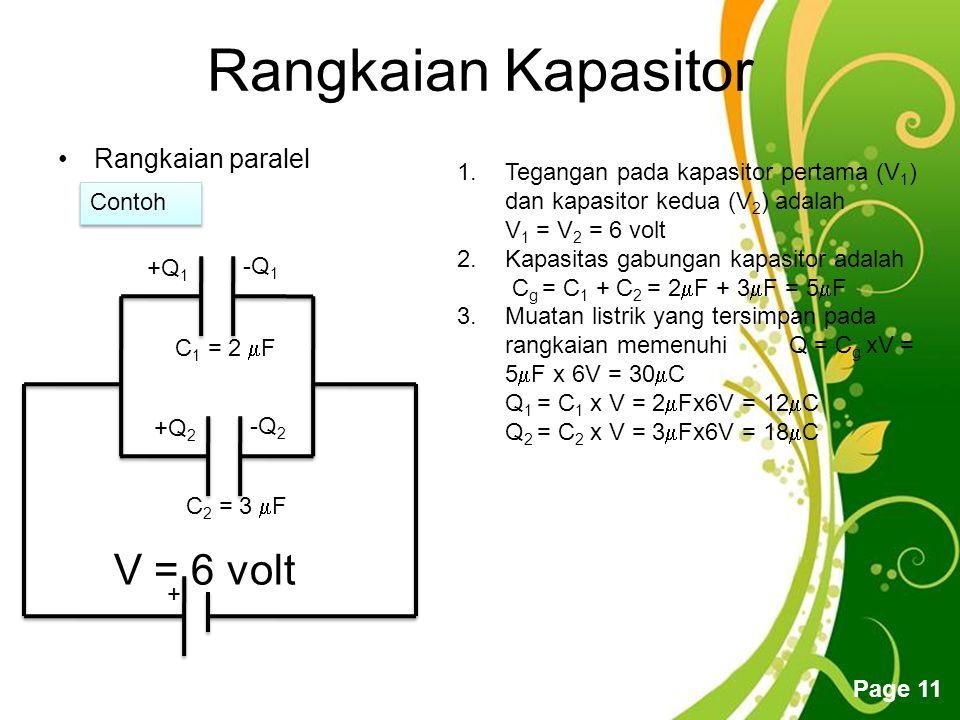 Free Powerpoint Templates Page 11 Rangkaian Kapasitor Rangkaian paralel + +Q 1 -Q 1 +Q 2 -Q 2 1.Tegangan pada kapasitor pertama (V 1 ) dan kapasitor kedua (V 2 ) adalah V 1 = V 2 = 6 volt 2.Kapasitas gabungan kapasitor adalah C g = C 1 + C 2 = 2  F + 3  F = 5  F 3.Muatan listrik yang tersimpan pada rangkaian memenuhi Q = C g xV = 5  F x 6V = 30  C Q 1 = C 1 x V = 2  Fx6V = 12  C Q 2 = C 2 x V = 3  Fx6V = 18  C Contoh C 1 = 2  F C 2 = 3  F V = 6 volt
