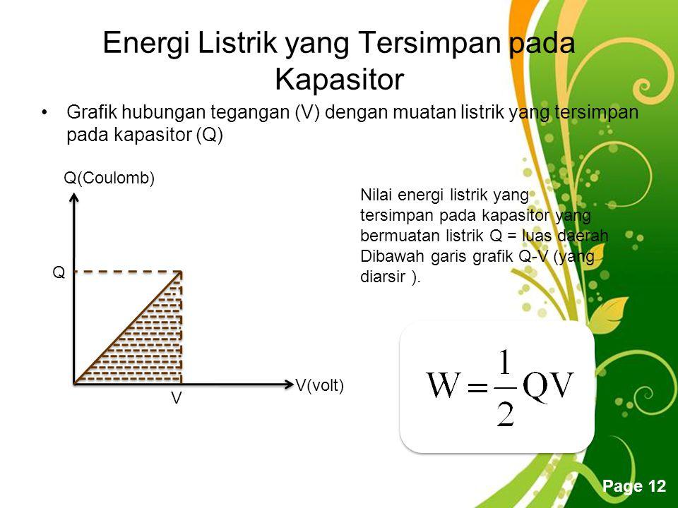 Free Powerpoint Templates Page 12 Energi Listrik yang Tersimpan pada Kapasitor Grafik hubungan tegangan (V) dengan muatan listrik yang tersimpan pada kapasitor (Q) V(volt) Q(Coulomb) Q V Nilai energi listrik yang tersimpan pada kapasitor yang bermuatan listrik Q = luas daerah Dibawah garis grafik Q-V (yang diarsir ).