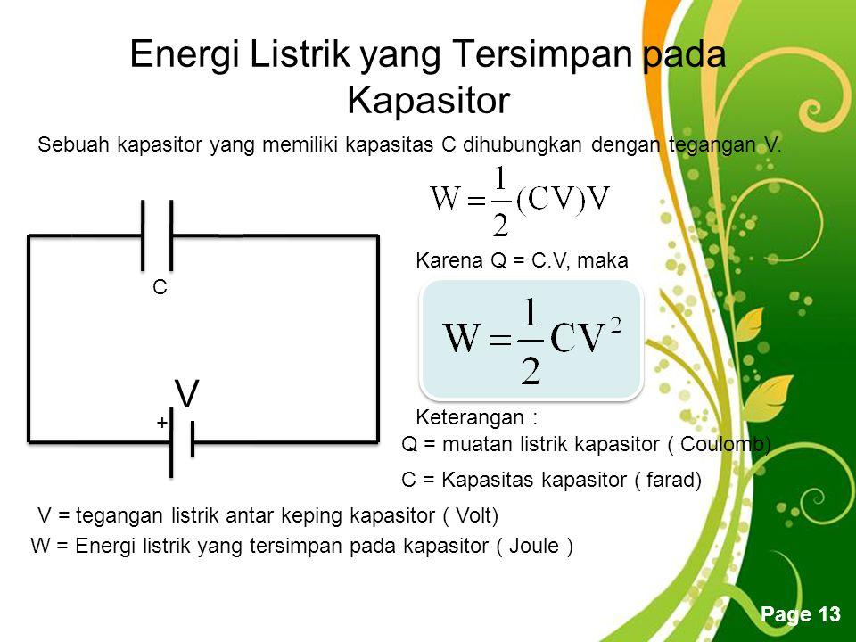 Free Powerpoint Templates Page 13 Energi Listrik yang Tersimpan pada Kapasitor + V Sebuah kapasitor yang memiliki kapasitas C dihubungkan dengan tegangan V.