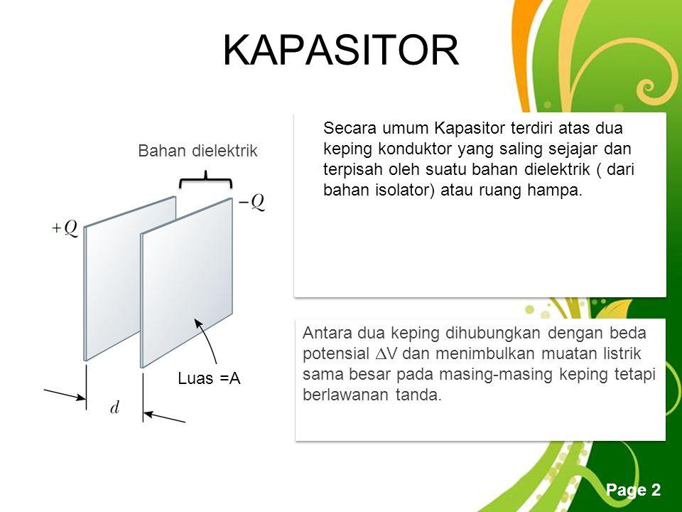 Free Powerpoint Templates Page 2 KAPASITOR Secara umum Kapasitor terdiri atas dua keping konduktor yang saling sejajar dan terpisah oleh suatu bahan dielektrik ( dari bahan isolator) atau ruang hampa.