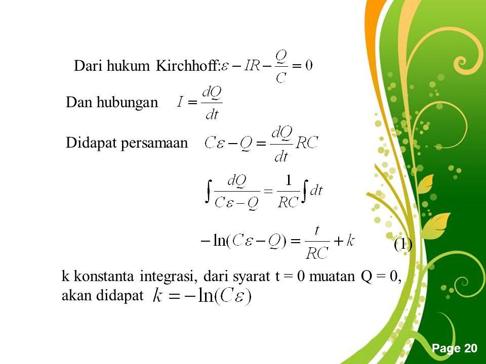 Free Powerpoint Templates Page 20 k konstanta integrasi, dari syarat t = 0 muatan Q = 0, akan didapat Dari hukum Kirchhoff: Dan hubungan Didapat persamaan (1)
