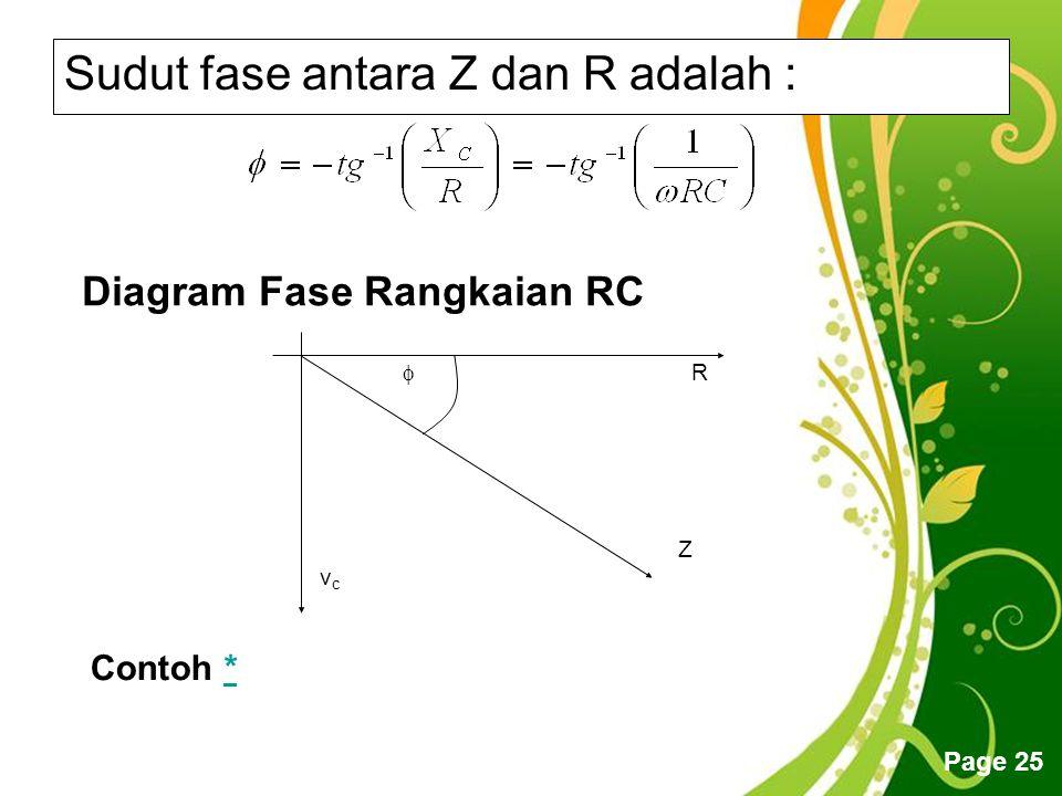 Free Powerpoint Templates Page 25 Sudut fase antara Z dan R adalah : Diagram Fase Rangkaian RC  vcvc R Z Contoh **