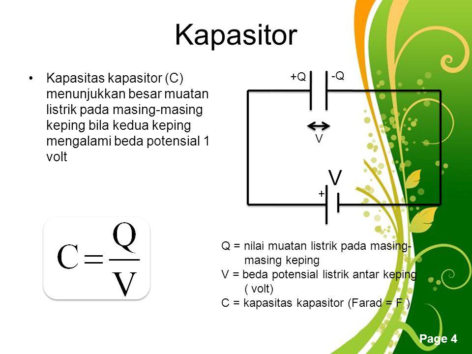 Free Powerpoint Templates Page 4 Kapasitor Kapasitas kapasitor (C) menunjukkan besar muatan listrik pada masing-masing keping bila kedua keping mengalami beda potensial 1 volt + V +Q -Q V Q = nilai muatan listrik pada masing- masing keping V = beda potensial listrik antar keping ( volt) C = kapasitas kapasitor (Farad = F )