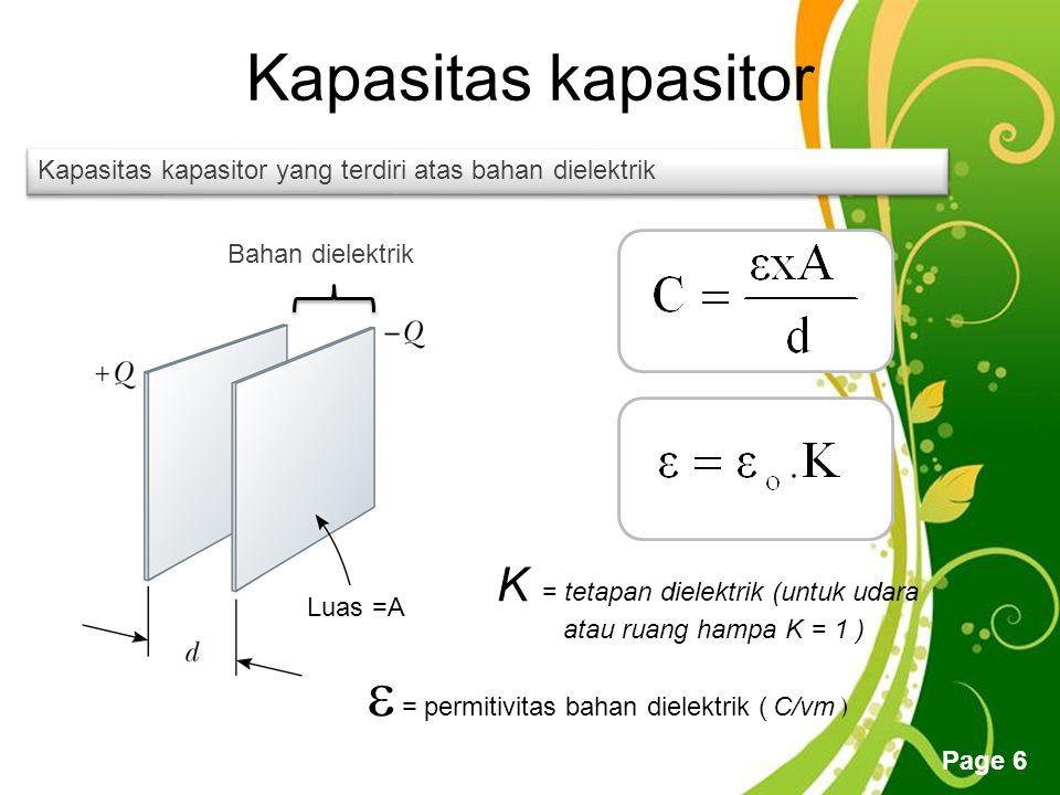 Free Powerpoint Templates Page 6 Kapasitas kapasitor Bahan dielektrik Luas =A  = permitivitas bahan dielektrik ( C/vm ) Kapasitas kapasitor yang terdiri atas bahan dielektrik K = tetapan dielektrik (untuk udara atau ruang hampa K = 1 )