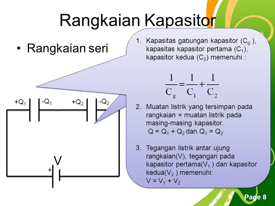 Free Powerpoint Templates Page 8 Rangkaian Kapasitor Rangkaian seri + V +Q 1 -Q 1 +Q 2 -Q 2 1.Kapasitas gabungan kapasitor (C g ), kapasitas kapasitor pertama (C 1 ), kapasitor kedua (C 2 ) memenuhi : 2.Muatan listrik yang tersimpan pada rangkaian = muatan listrik pada masing-masing kapasitor.