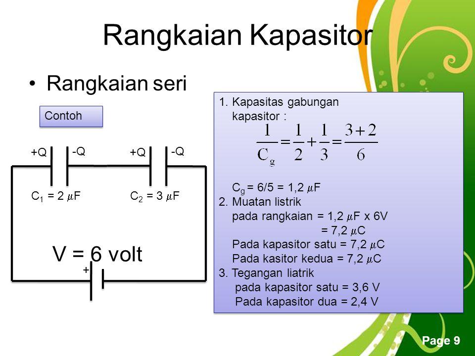 Free Powerpoint Templates Page 9 Rangkaian Kapasitor Rangkaian seri + V = 6 volt +Q -Q +Q -Q C 1 = 2  FC 2 = 3  F Contoh 1.