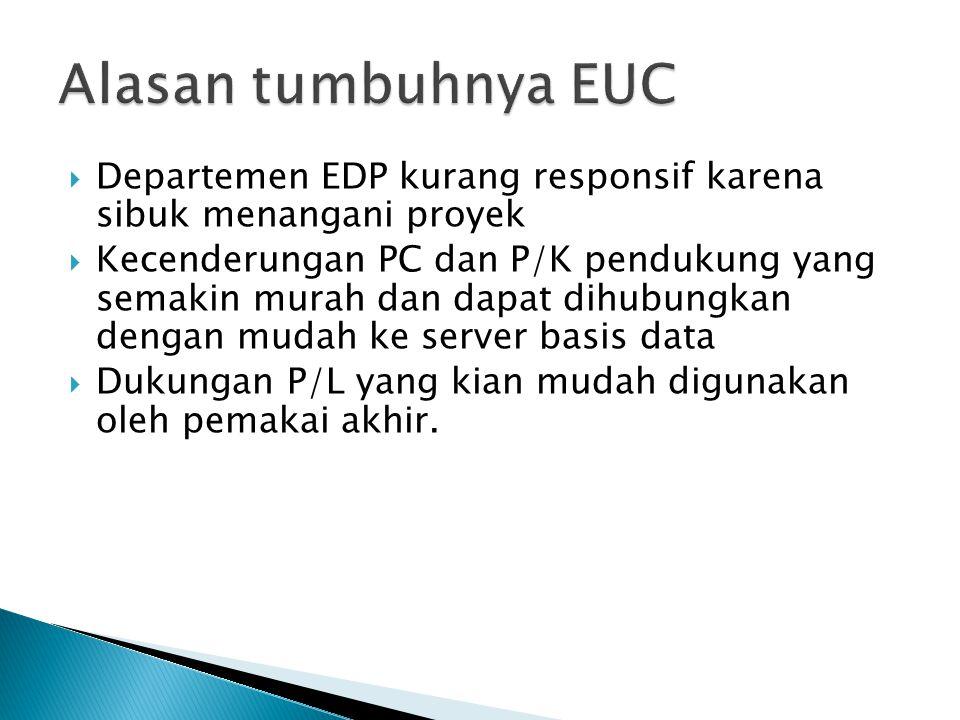  Departemen EDP kurang responsif karena sibuk menangani proyek  Kecenderungan PC dan P/K pendukung yang semakin murah dan dapat dihubungkan dengan m