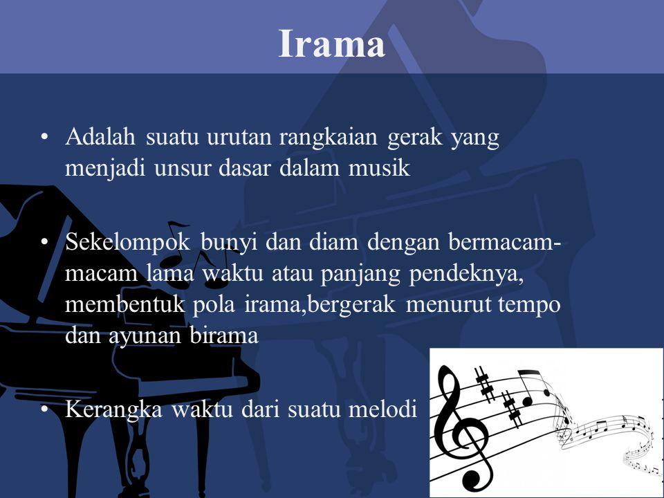 Irama Adalah suatu urutan rangkaian gerak yang menjadi unsur dasar dalam musik Sekelompok bunyi dan diam dengan bermacam- macam lama waktu atau panjang pendeknya, membentuk pola irama,bergerak menurut tempo dan ayunan birama Kerangka waktu dari suatu melodi