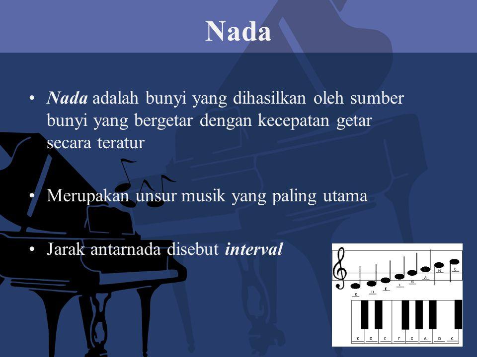 Nada Nada adalah bunyi yang dihasilkan oleh sumber bunyi yang bergetar dengan kecepatan getar secara teratur Merupakan unsur musik yang paling utama Jarak antarnada disebut interval