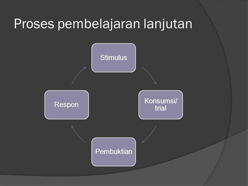 Proses pembelajaran lanjutan Stimulus Konsumsi/ trial PembuktianRespon
