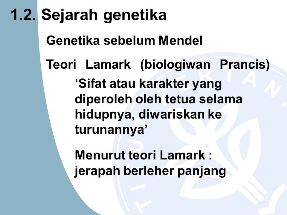 Genetika sebelum Mendel Teori Lamark (biologiwan Prancis) 'Sifat atau karakter yang diperoleh oleh tetua selama hidupnya, diwariskan ke turunannya' Me